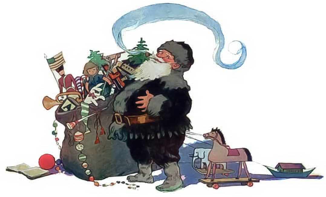 Santa and his bag of toys.