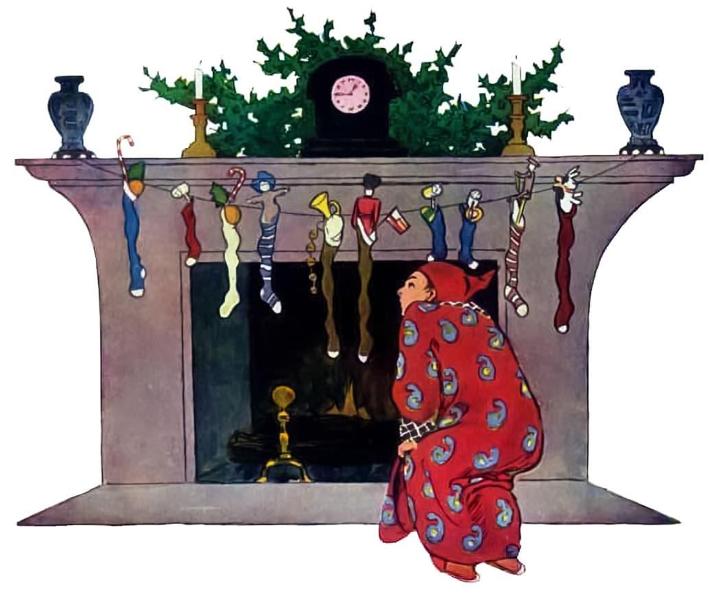 Dad looking up chimney after Santa Claus.