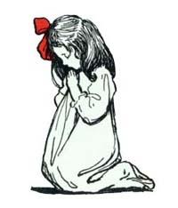 little girl saying her prayers in Christmas eve.