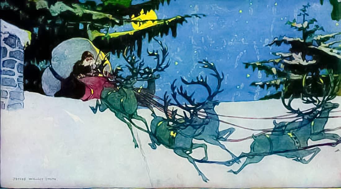 Santa leading reindeer.
